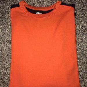 Orange with Navy Sleeve Stripe Long Sleeve T-shirt